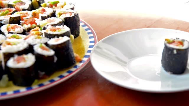 maki sushi - wasabi sauce stock videos and b-roll footage