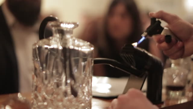 making a cocktail - smoking a decanter - decanter stock videos & royalty-free footage