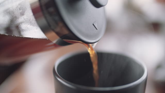 making a coffee with french press - pouring stock videos & royalty-free footage