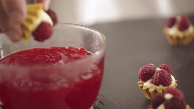 making a raspberry cake cheese tart - whipped cream stock videos and b-roll footage