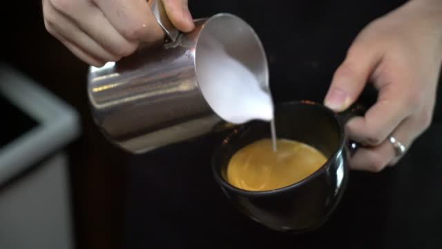 making art latte coffee