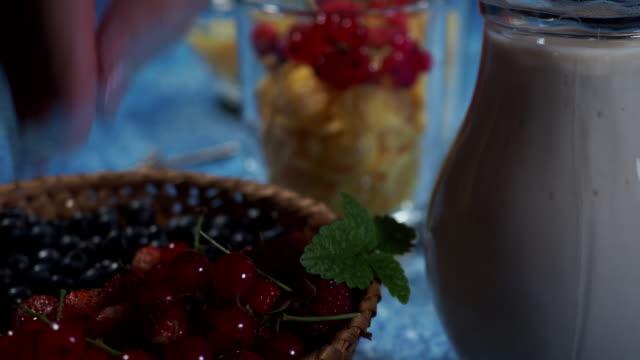 making breakfast with fresh berries - buttermilk stock videos & royalty-free footage