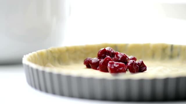 making cherry pie - tart dessert stock videos & royalty-free footage