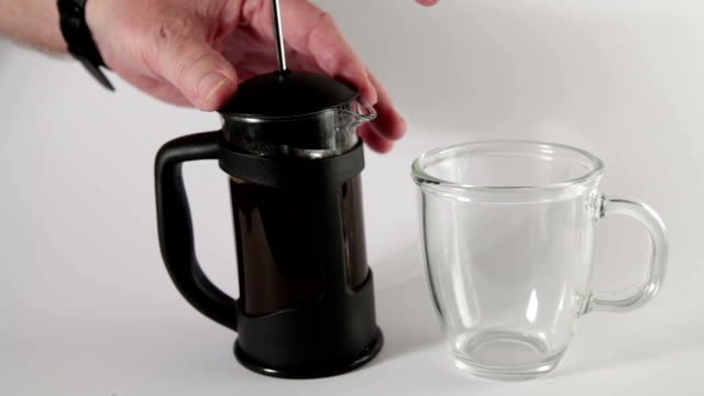 making coffee in french press cafetiere filtering and pouring - plunger stock videos and b-roll footage