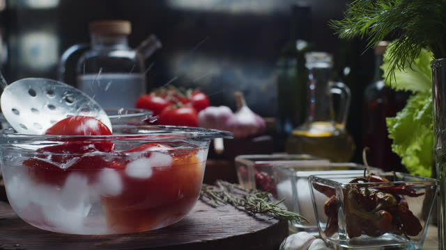 making cold tomato soup - boiling stock videos & royalty-free footage