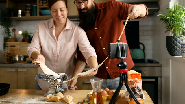 making delicious pasta together - live broadcast stock videos & royalty-free footage