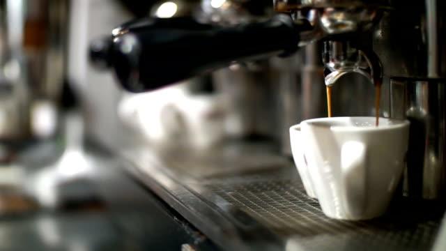 Making espresso in a bar.