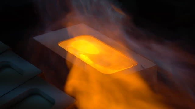 making gold ingot, pouring liquid gold to plate - furnace stock videos & royalty-free footage