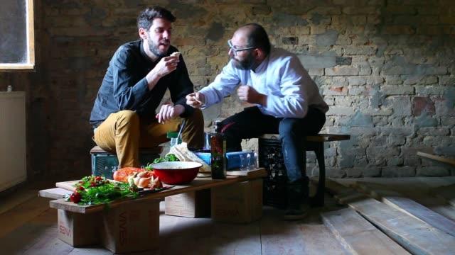 making hummus - mid adult men stock videos & royalty-free footage