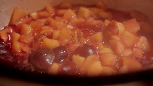 making jam by boiling apples and plums - preserve stock videos and b-roll footage