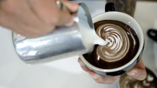 SLO MO making latte art with dark chocolate.