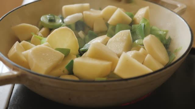 making leek potato soup - potato soup stock videos & royalty-free footage