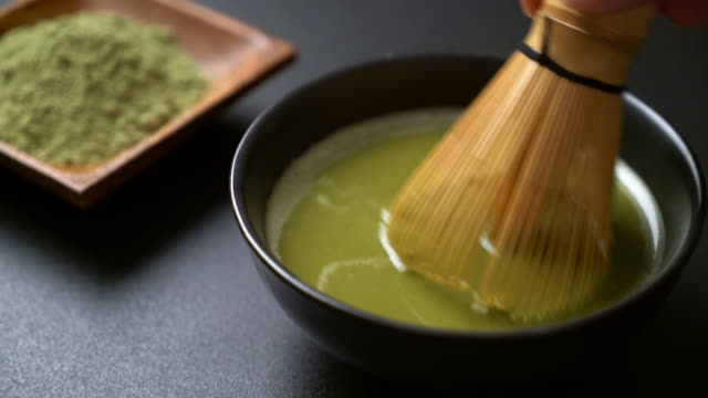 making matcha green tea - ceremony stock videos & royalty-free footage