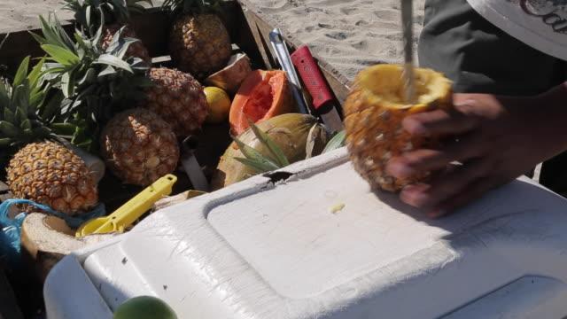 vídeos y material grabado en eventos de stock de making mexican fruit drink on the beach, puerto vallarta, nayarit, mexico, north america - nevera portátil