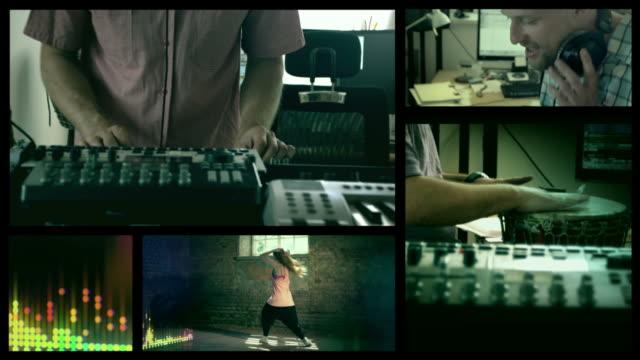 vídeos y material grabado en eventos de stock de making music. hip hop dancer split screen. - pantalla dividida