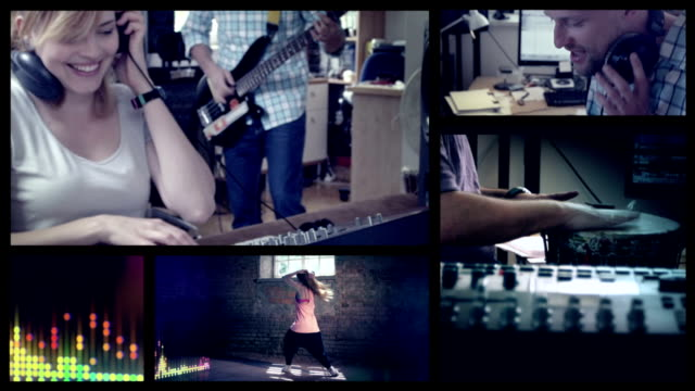 Making music. Hip hop dancer Split screen.