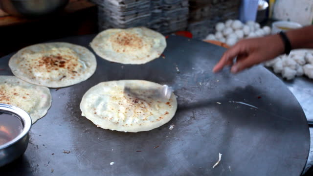 Making Parantha Roll in the Roadside restaurant