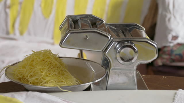 ms ds making pasta at home - pasta machine stock videos and b-roll footage