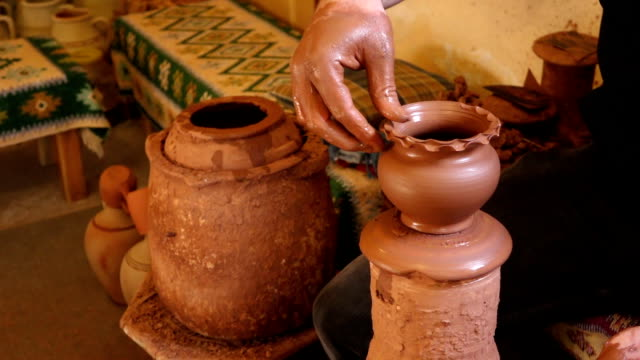 Making pottery art in Cappadocia