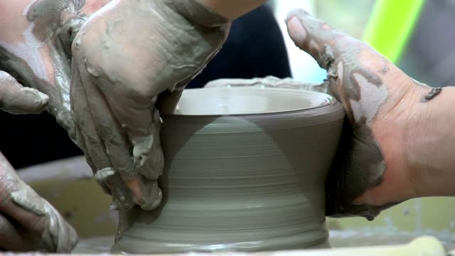 making pottery at crafts works