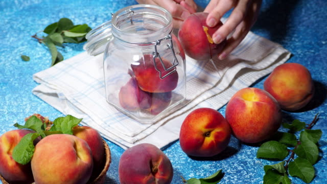 making preserved peaches - canning stock videos & royalty-free footage