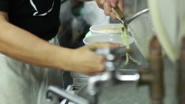 making ramen noodles in japan - broth stock videos & royalty-free footage