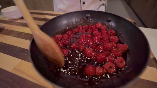 making raspberry sauce - dessert topping stock videos & royalty-free footage