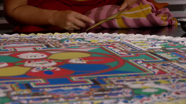 making sand mandala - mandala stock videos & royalty-free footage