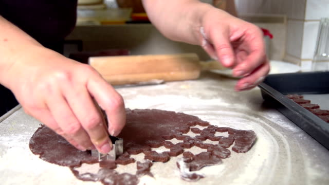 making star shaped chocolate cookies - mgost stock videos and b-roll footage