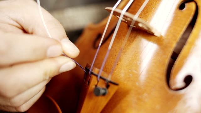 making the violin - tuning the violin - craftsman stock videos and b-roll footage