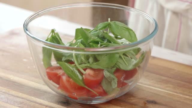 making tomato salad - tomato salad stock videos & royalty-free footage