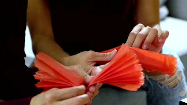 making traditional chinese new year decorations - craft stock videos & royalty-free footage