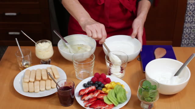 making trifle - trifle dessert stock videos and b-roll footage