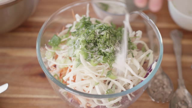 making vegan slaw in the kitchen - coleslaw stock videos & royalty-free footage