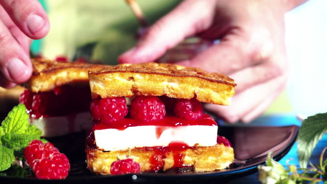 making waffles with fresh raspberries - waffles stock videos and b-roll footage