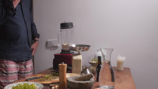 Making white gazpacho: 'ajo blanco'