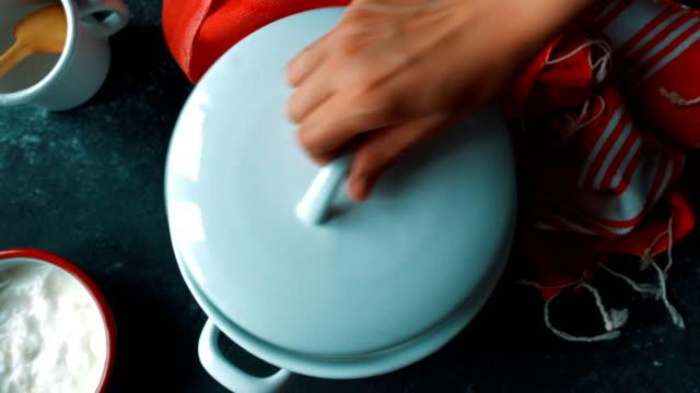 making yogurt at home - closing saucepan lid - cooking pan stock videos & royalty-free footage