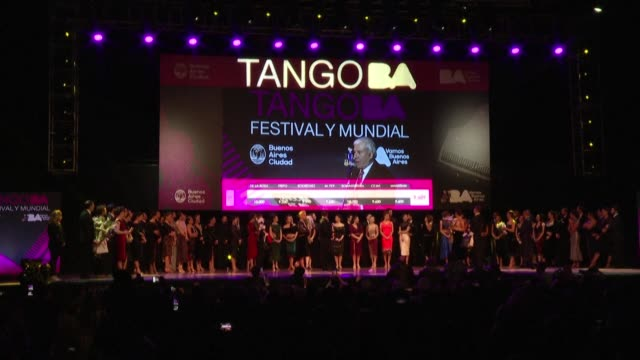 maksim gerasimov of rusia and agustina piaggio of argentina are crowned tango salon champions in the tango dance championship in buenos aires - ballroom dancing stock videos & royalty-free footage