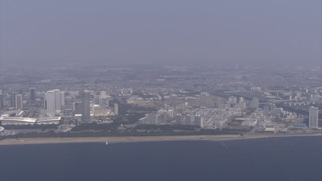 aerial, makuhari new city, chiba, japan - 1980 stock videos and b-roll footage