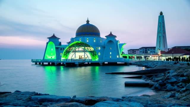 malacca straits mosque or masjid selat melaka - malacca stock videos and b-roll footage