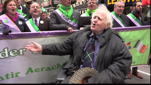 Malachy McCourt sings Wild Mountain Thyme with members of Lavender Green Alliance at St Patrick's Parade Brendan Fay City Council Member Danny Drumm...