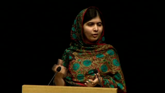 malala yousafzai and kailash satyarthi win nobel peace prize; west midlands: birmingham: int malala yousafzai press conference sot - this award is... - award stock-videos und b-roll-filmmaterial