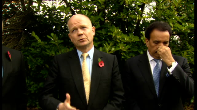 william hague statement after meeting malala's father england midlands birmingham queen elizabeth hospital int william hague mp along corridor... - william hague stock-videos und b-roll-filmmaterial