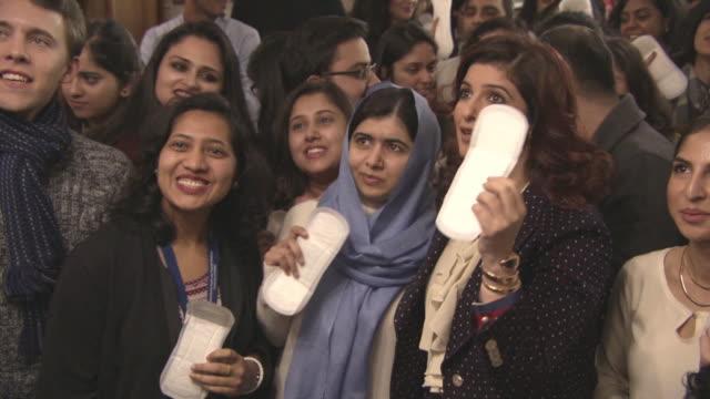 Malala Yousafzai Twinkle Khanna at 'Pad Man' Producer Twinkle Khanna addresses The Oxford Union at The Oxford Union on January 18 2018 in Oxford...
