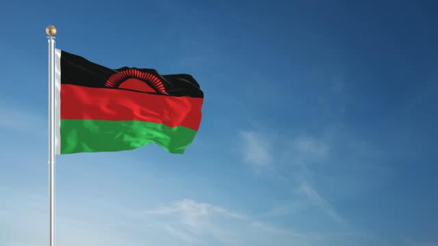 vídeos de stock e filmes b-roll de 4 k-loopable bandeira de malawi - malávi