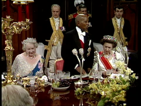 Berks Windsor President Banda full speech SOT All those problems are now behind ustoast to her majesty the Queen' GVs banquet hall and guests...