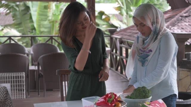 vídeos y material grabado en eventos de stock de 2 amigas malayas preparando comida para la reunión de la fiesta en el jardín - malaysian culture