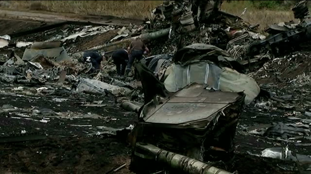 malaysia airlines plane crash: eu and usa impose joint sanctions against russia; ukraine: grabove: fire blackened plane wreckage at crash site with... - ukraine stock videos & royalty-free footage