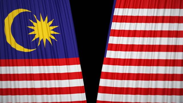 マレーシア国旗カーテンクロス - ベルベット点の映像素材/bロール