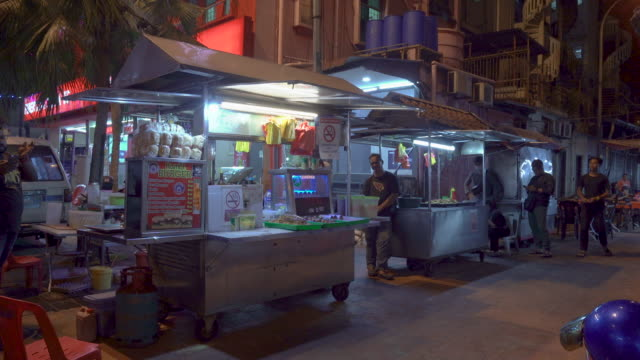 malaysia street food stall at night - malaysian culture stock videos & royalty-free footage